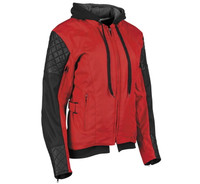 Speed And Strength Women's Double Take Leather-Textile Jacket Red Front View
