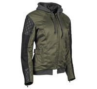 Speed And Strength Women's Double Take Leather-Textile Jacket Olive Main View