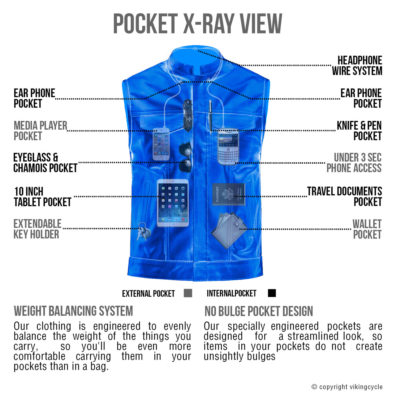 Viking Cycle Gardar Motorcycle Leather Vest for Men