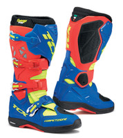 TCX Comp EVO 2 Michelin® MX Enduro High Performance Off Road Racing Boots Blue/Red/Yellow Flo View