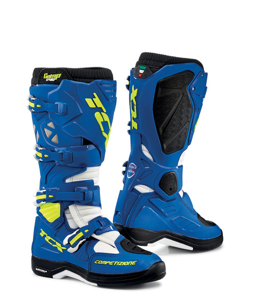 TCX Comp EVO 2 Michelin® MX Enduro High Performance Off Road Racing Boots Bright Blue/White View