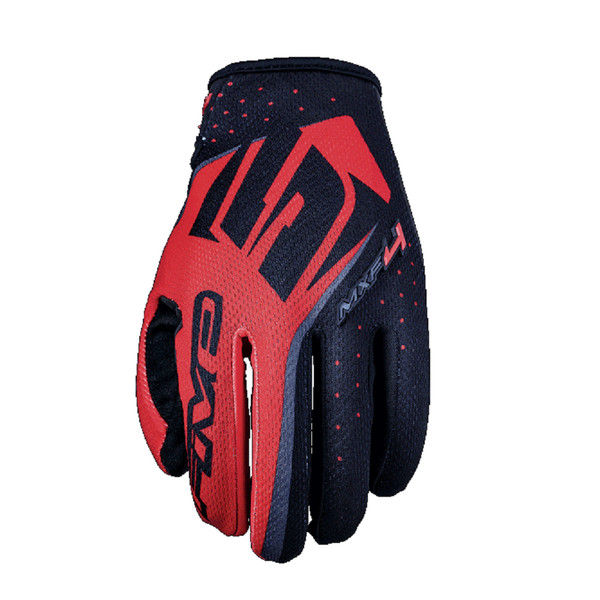 Five MXF4 Motocross Off Road Gloves Red View