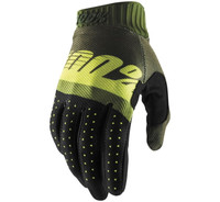 100% Men's Ridefit Gloves Army Green/Fluorescent Lime/Black View