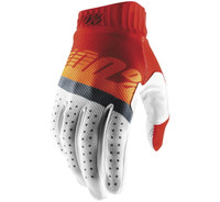 100% Men's Ridefit Gloves Red/Fluorescent Orange/Slate Blue View