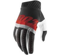 100% Men's Ridefit Gloves Grey/Red/Black View