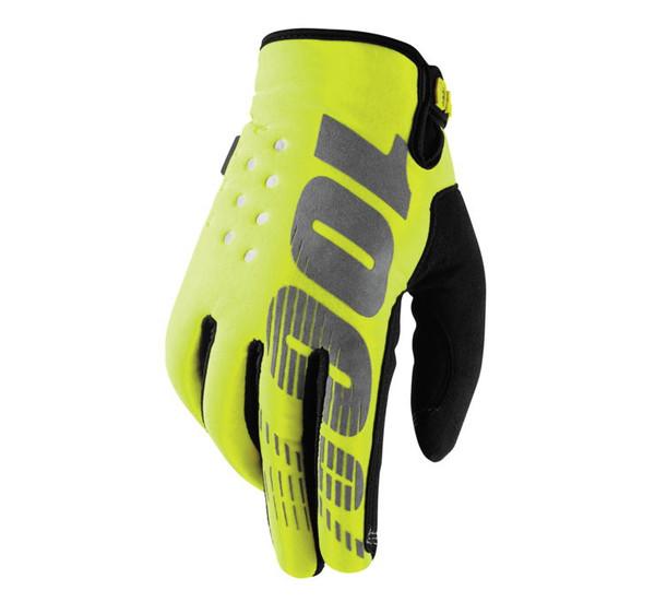 100% Men's Brisker Cold-Weather Gloves Neon Yellow/Black View