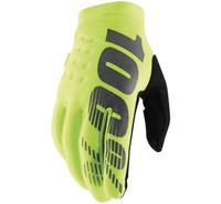 100% Men's Brisker Cold-Weather Gloves Fluorescent Yellow/Black View