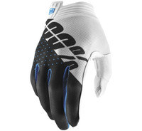 100% iTrack Off Road Gloves For Men's White/Steel Grey View