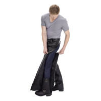Viking Cycle  Braided Motorcycle Leather Chaps Zipper Closure