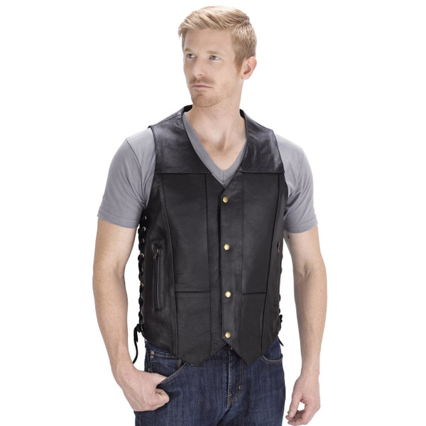 Viking Cycle Thorfinn 10 pocket Motorcycle Vest for Men Front Side