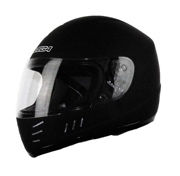 Vega Trak Junior Full Face Karting Helmet Gloss Black Front Side