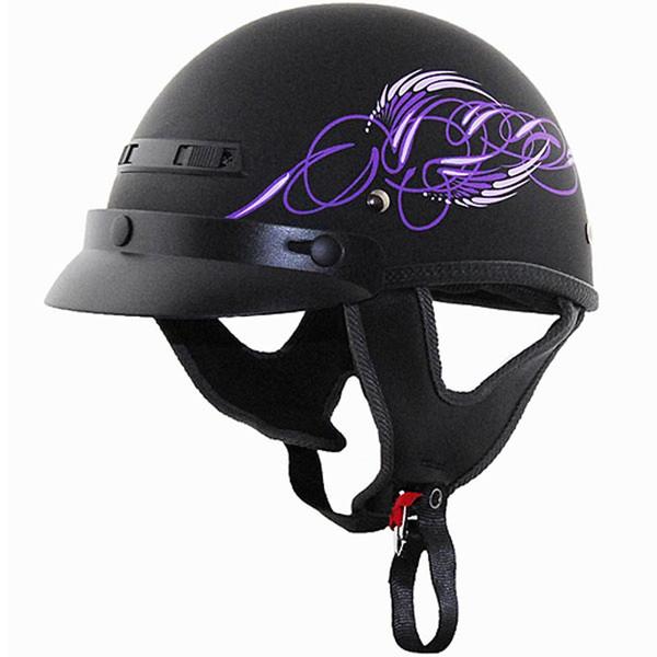 Vega XTS Half Helmet with Aqua Scroll Graphic Purple