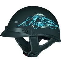Vega XTS Half Helmet with Aqua Scroll Graphic Blue