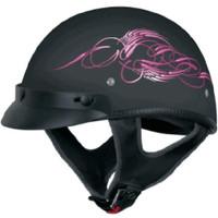 Vega XTS Half Helmet with Aqua Scroll Graphic Pink
