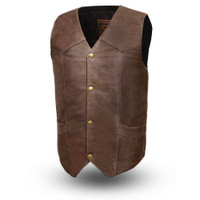 First Classics Men's Texan Leather V Neck Vest Brown Front View