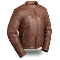 First Classics Manchester Brown Perforated Sleeve Jacket Main View