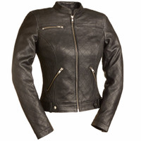 First Classics Queen Of Diamonds Ladies Quilted Leather Jacket