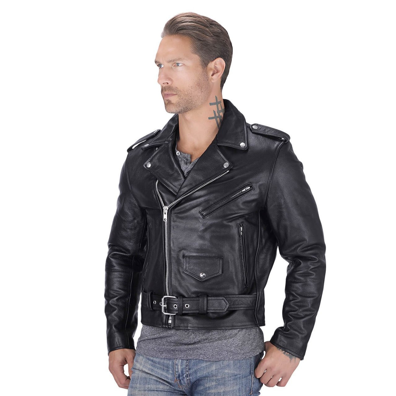 c735a0dff04eb Nomad USA Classic Leather Biker Jacket - Motorcycle House