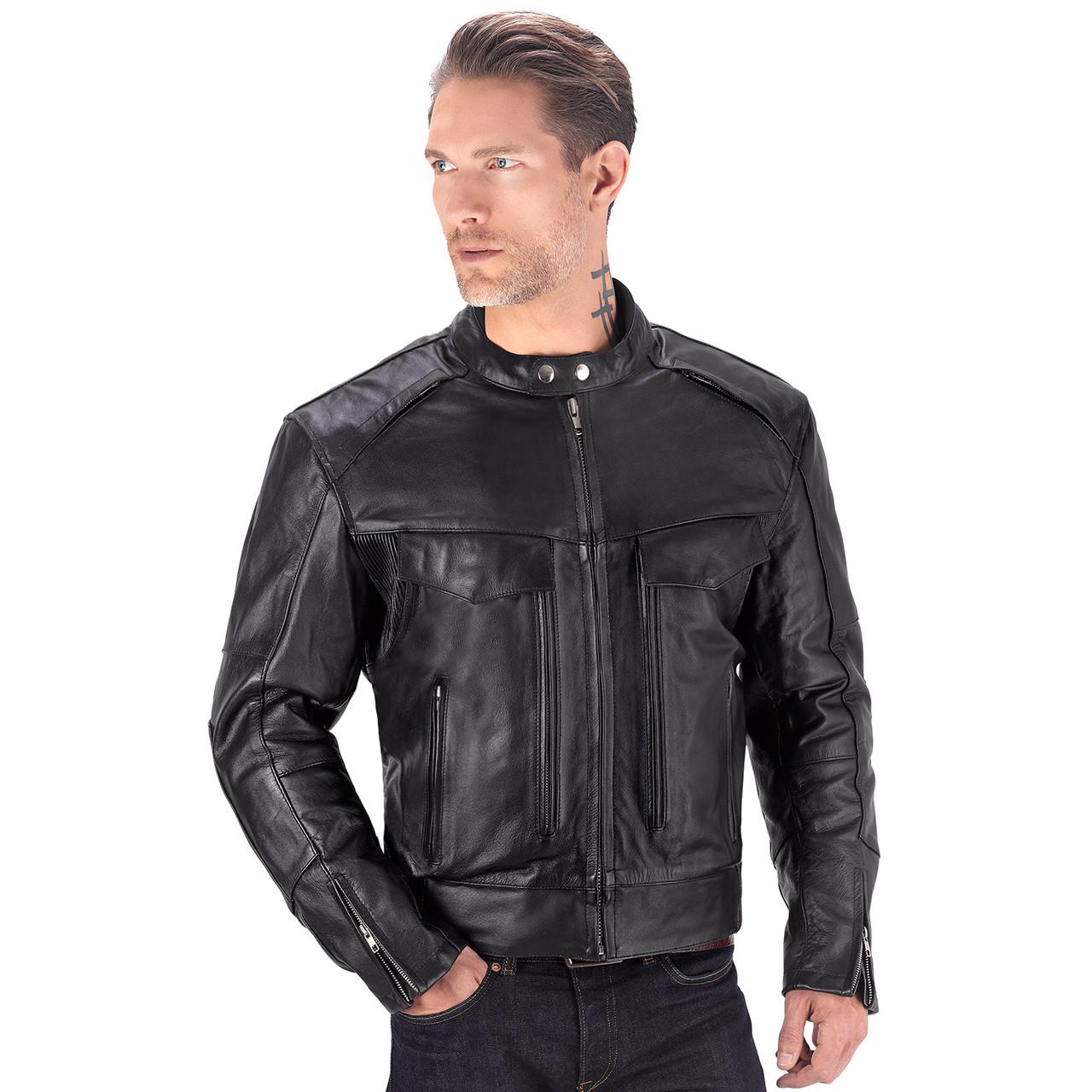 ed197b0d91e Viking Cycle Skeid Black Leather Jacket for Men - Motorcycle House