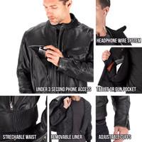 Viking Cycle Skeid Leather Jacket for Men Black Closeup View