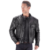 Viking Cycle Skeid Leather Jacket for Men Black Open Jacket View