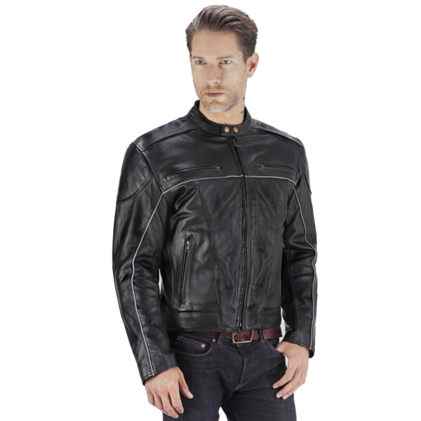 Viking Cycle Warrior 2.0 Leather Motorcycle Jacket Front View