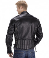 Viking Cycle Warrior Motorcycle Jacket for Men Black Back Side View