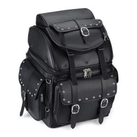 Leather Studded Motorcycle Backrest Seat Luggage Main Image