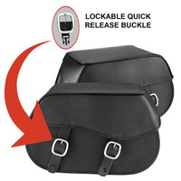 Nomad USA Large Leather Throw-over Motorcycle Saddlebags  4