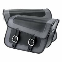 Nomad USA Gray Leather Large Motorcycle Saddlebags w/ Quick Release Buckles 3