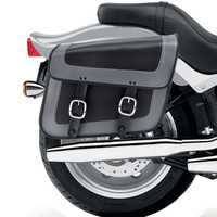 Nomad USA Gray Leather Large Motorcycle Saddlebags w/ Quick Release Buckles 2
