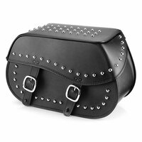 Nomad USA Large Leather Studded Throw-over Motorcycle Saddlebags
