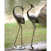 Stylized Garden Heron Pair Sculpture