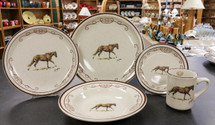 Horse w/Lariat  Dinnerware  Set/20 - Classic Rustic Brown Speckled