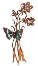 3D Butterfly and Flowers Metal Wall Art