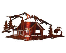 """""""Night Moose With Mountains"""" Metal Wall Art"""