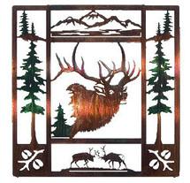 """Fall Bugle"" Elk Metal Wall Art"
