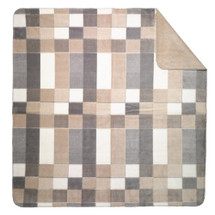 "Gray Plaid Microplush Throw 50"" x 60"""