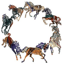 Circle Of Horses Metal Wall Art