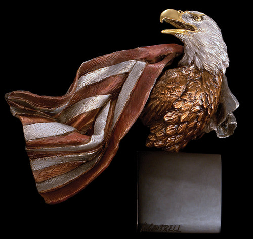 Symbols of Honor Eagle With Flag Sculpture by Kitty Cantrell