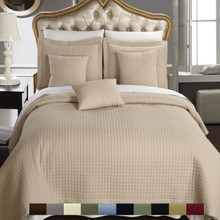 Luxury Checkered Quilted Wrinkle Free Multi-Piece Coverlets Set