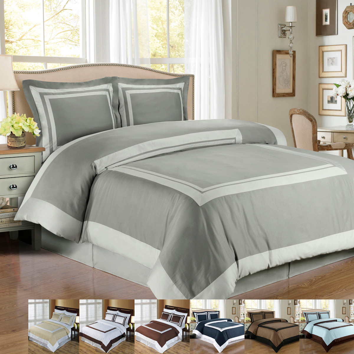 Wrinkle Free Combed Cotton Hotel Duvet Cover Set