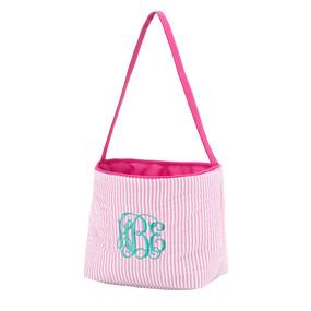 Monogrammed Pink Seersucker Easter Bucket