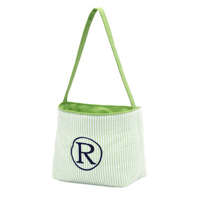 Monogrammed Green Seersucker Easter Bucket