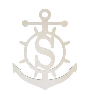 Monogrammed Wooden Anchor Wall Hanger