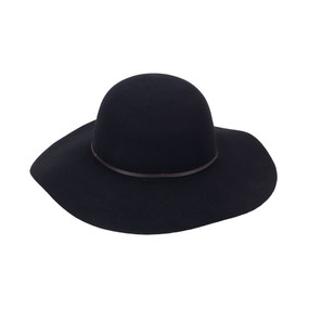 Monogrammed Black Wool Floppy Hat