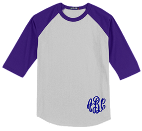 Monogrammed Raglan Jersey- White / Purple