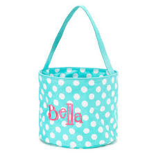 Monogrammed Aqua Dot Accessory Easter Bucket