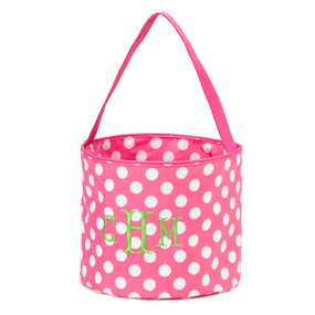 Monogrammed Pink Dot Accessory Easter Bucket