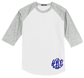 Monogrammed Raglan Jersey- White / Heather